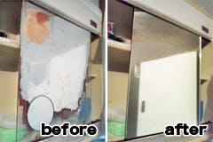 Y様 洗面台の棚の鏡兼扉(古い鏡を交換)